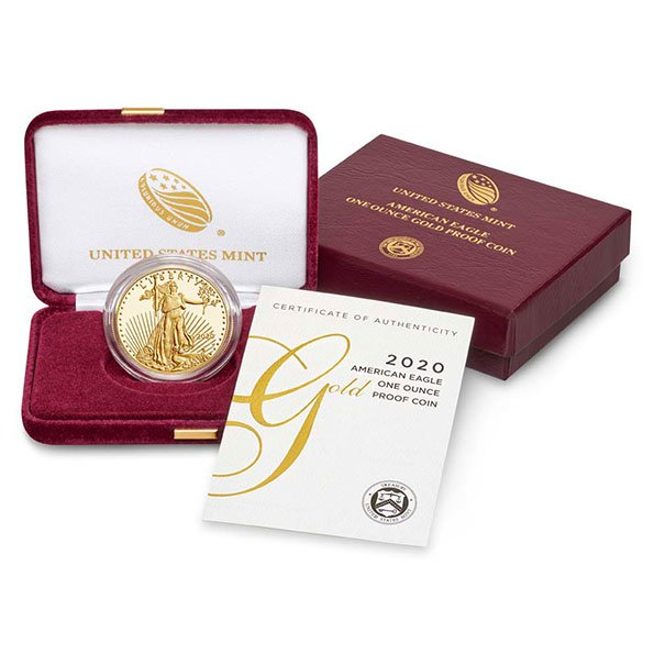 2020 American Eagle proof gold coin in case