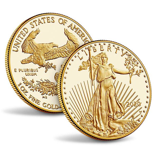 2020 American Eagle proof gold coin obverse and reverse