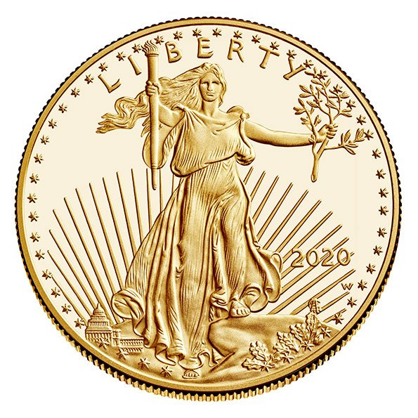 2020 American Eagle proof gold coin obverse