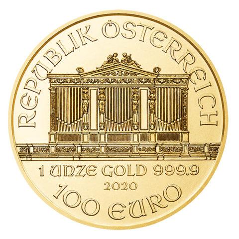 2020 Vienna Philharmonic gold coin obverse