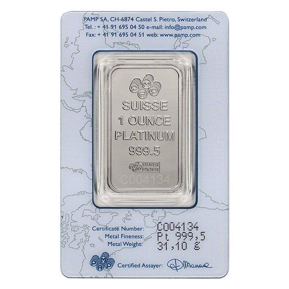 PAMP Suisse platinum bar in assay obverse