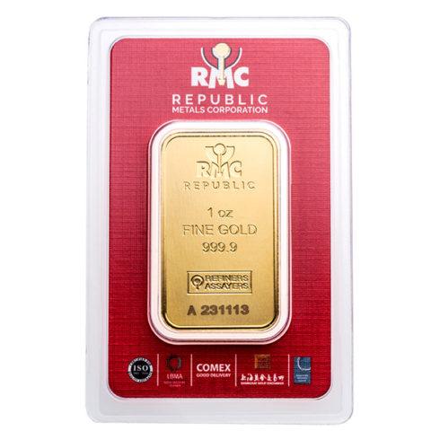 1oz Republic Metals Corporation gold bar in assay obverse