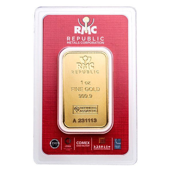 1oz Republic Metals Corporation gold bar in assay obverse