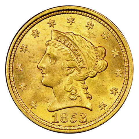 $2.50 Liberty Head quarter eagle gold coin obverse