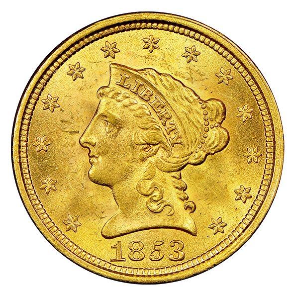 $2.50 Liberty Head quarter eagle gold coin obverse