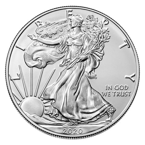2020 American Eagle silver coin obverse