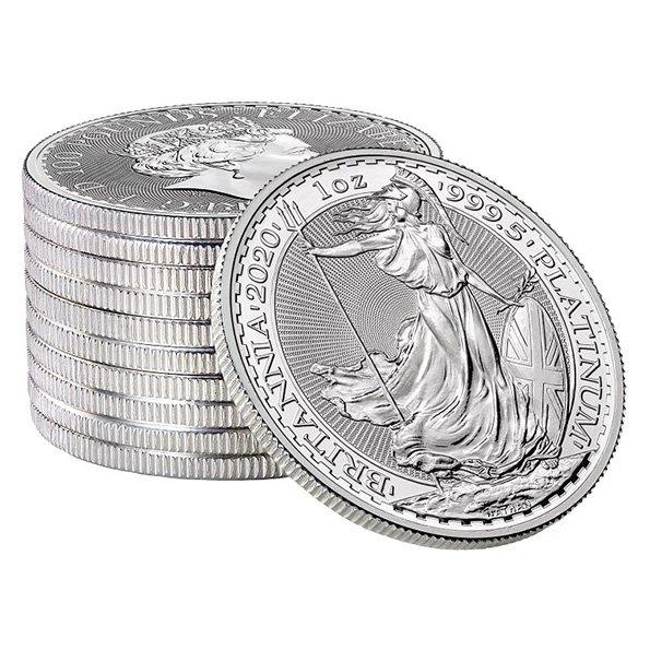 2020 platinum Britannia coins stack
