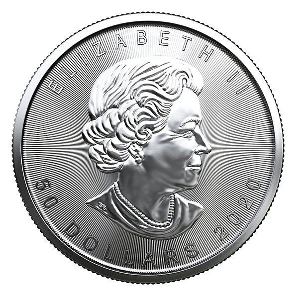2020 Canadian platinum Maple Leaf reverse