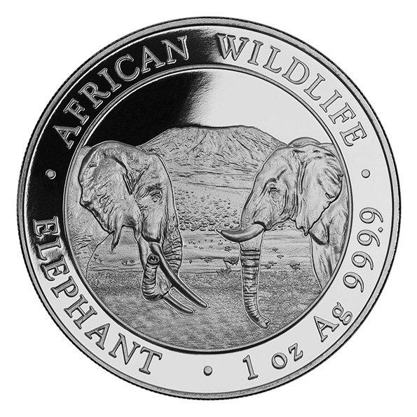 2020 Somalia elephant silver coin obverse