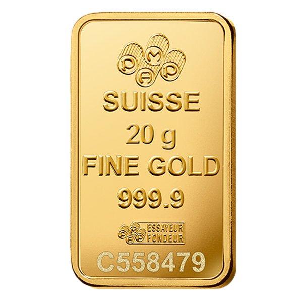 20g PAMP gold bar obverse