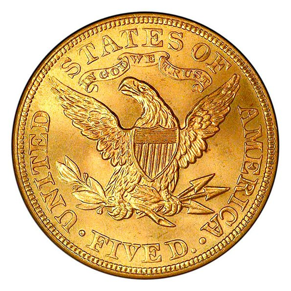 $5 Liberty Head reverse