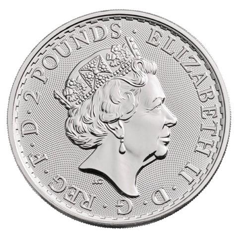 Britannia one ounce silver coin obverse