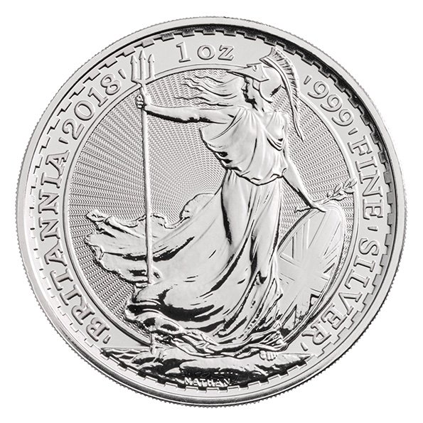 Britannia one ounce silver coin reverse