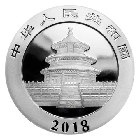 Chinese Panda one ounce silver coin obverse