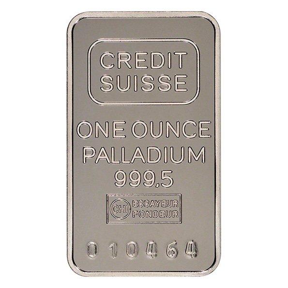 Credit Suisse palladium bar obverse