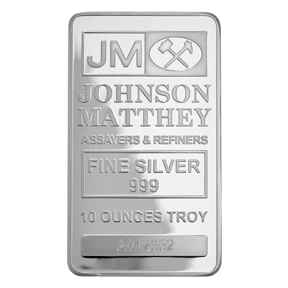 Johnson Matthey 10oz silver bar obverse