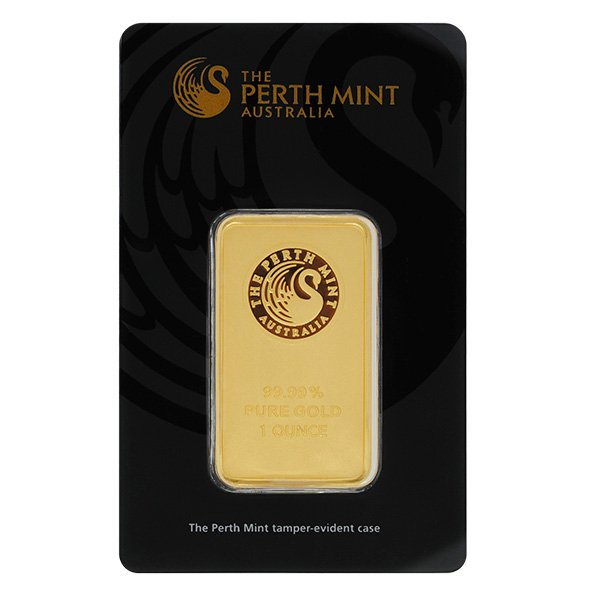 1oz Perth Mint gold bar in assay obverse