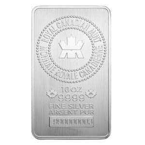 Royal Canadian Mint silver bar obverse