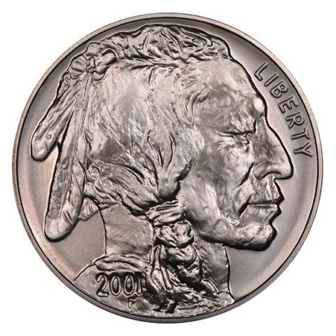 silver American Buffalo coin obverse