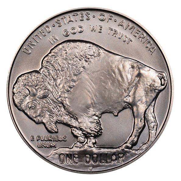 silver American Buffalo coin reverse