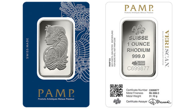 1 oz PAMP Suisse rhodium bar