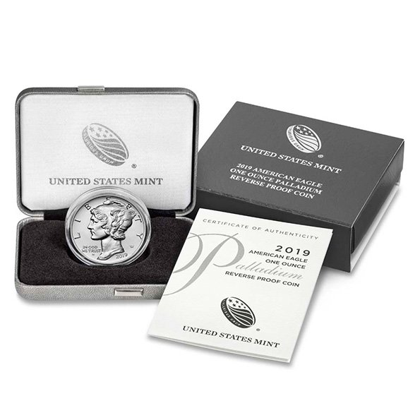 Palladium American Eagle Reverse Proof coin box with certificate