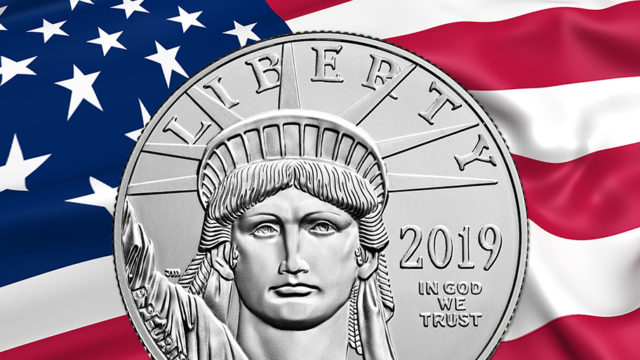 own platinum - coin on US flag