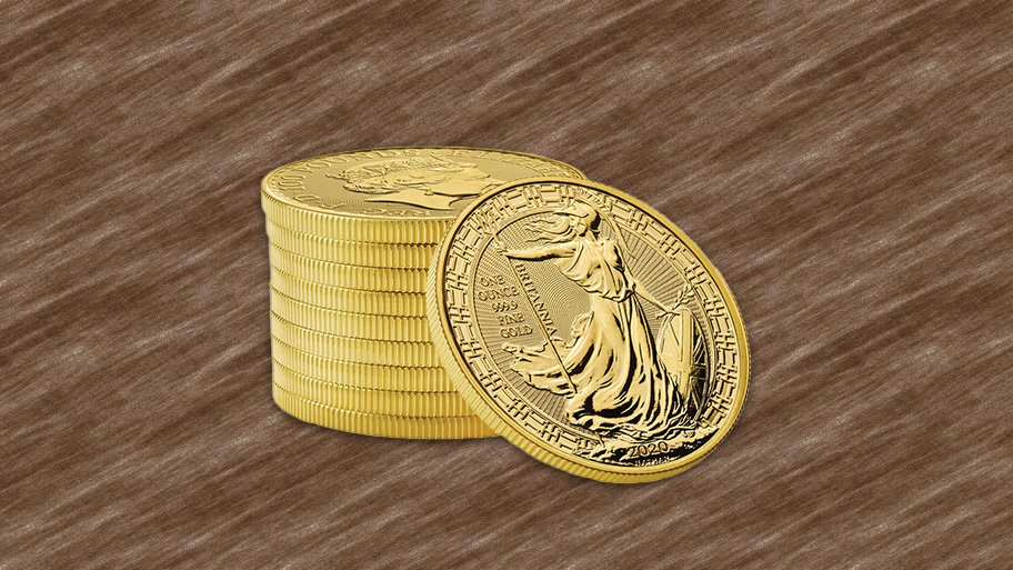 stacked gold Britannias