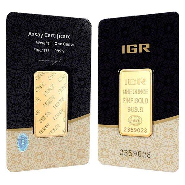 IGR gold bar obverse and reverse