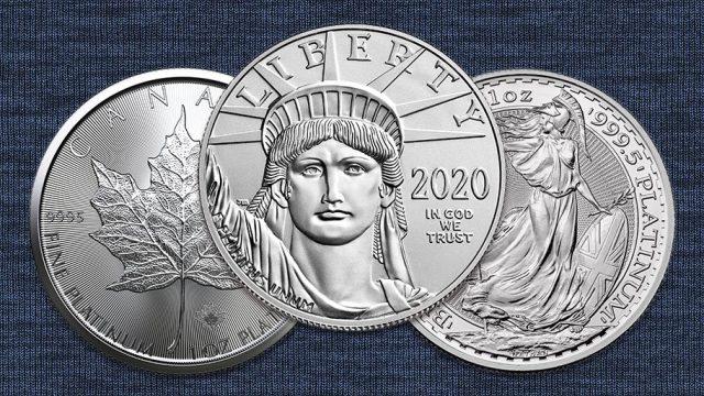 three platinum coins