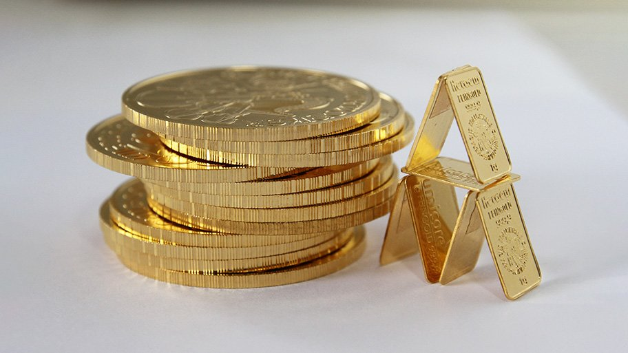 gold coins and bars